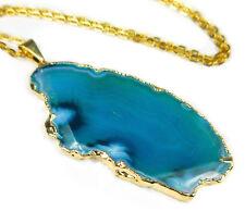 Verde Azulado corte Agate Collar colgante de cristal M6B Curación y piedras