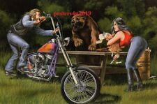 David Mann Art Motorcycle Poster Print The Picnic Bear