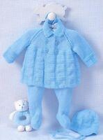BABY knitting pattern matinee jacket  leggings hat  pram set   3m / 6mm   dk