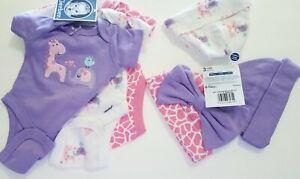 NWT Gerber Baby Girl BODYSUIT/Onesie&HAT 6pc Set Purple/Pink/Giraffe/Elephant P