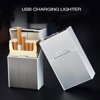 Cigarette Case Aluminum Alloy Box USB Rechargeable Lighter for Smoking Flameless