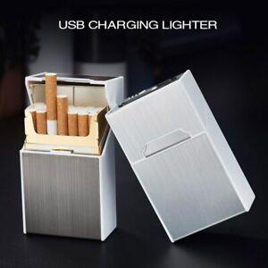 Cigarette Case Aluminum Alloy Box USB Rechargeable Lighter for Smoking Flameless