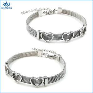 Bracciale donna maglia Milano con cuori in acciaio inox braccialetto da argento