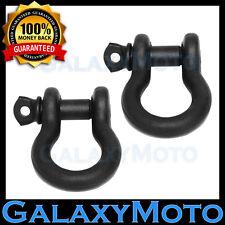 "Heavy Duty 1 Pair 3/4"" BLACK 4.75 Ton D-Ring Bow Shackle Off Road 4x4 ATV"