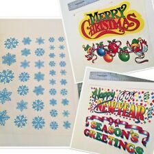 Vintage Window Clings Decals Christmas Holiday Greeting Snowflake Static Cling