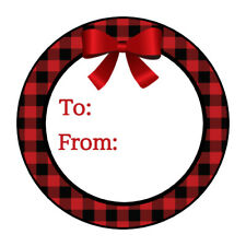 Christmas Holiday gift tag stickers, labels, Red plaid
