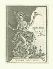 "Ex libris Erotic ""Homage F. Villon"" by ANTIMONOVA ELENA (1945-2002) Latvia"