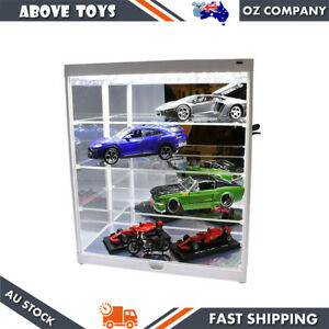 4 Layer LED Light Cars Model Display Case Fit Up To 8 x 1:18/1:24 Scale White