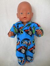 "BABY BORN 17"" DOLLS CLOTHES BLUE THOMAS FLANNELLETTE  PYJAMAS"