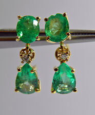 3.56ct NATURAL COLOMBIAN EMERALD DIAMOND DANGLE EARRINGS 18K YELLOW GOLD