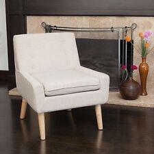 Retro Light Beige Fabric Accent Chair w/ Button Tufted Backrest
