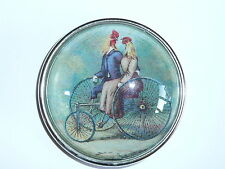 """Bicycle For Two Chickens Couple Domed Button 1-1/2"""" Antique Silver Toned Bezel"""