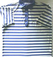 Peter Millar Summer Comfort Mens Blue White Polo Striped Short Sleeve Shirt Sz L