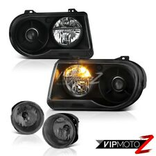 05-10 Chrysler 300C 5.7L Black New Left Right Replacement Headlight Bumper Fog