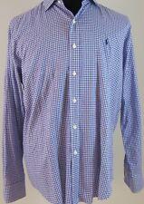 Ralph Lauren Polo Men's Shirt Cotton Purple Check L/S Sz L BTN Front Pony Logo