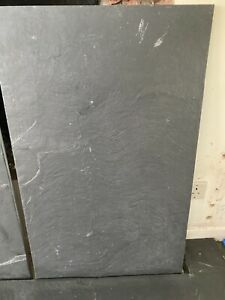 4 x black slate/stone hearth tiles