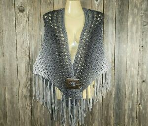 NEW Gray Ombre Multi Hand Knitted New Shawl Wrap Scarf Boho Hippie Handmade