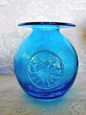 Collectible DARTINGTON CRYSTAL Turquoise Blue Hand Made Blown Glass Vase