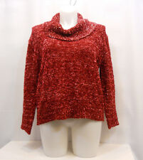 United States Sweaters Women's Red Cowl Neck Long-Sleeve Chunky Size XL