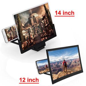 """12""""/14"""" Phone Screen Magnifier HD 3D Video Amplifier Cellphone Stand Bracket US"""