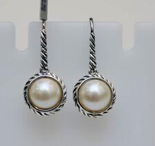 DAVID YURMAN NEW Small Sterling Silver 8mm Cable Wrap Pearl Drop Earrings