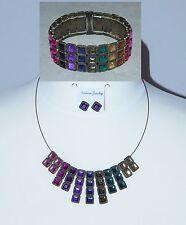 Multi Colour Stone & Antique Goldtone Necklace Cuff Bracelet & Earring Set - NEW