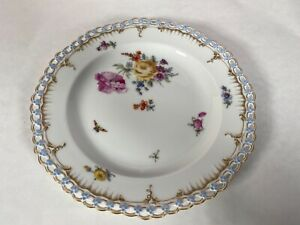 KPM Germany Reticulated Open Lace Daisy Chain Edge Flowers and Insects Plate #2