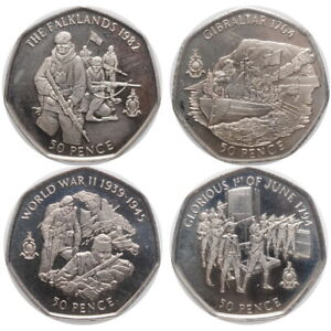 """Gibraltar 50 pence 2004, UNC, """"Operations of the Royal Marines"""""""