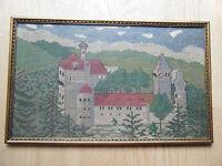 1930s? Framed Needlepoint Elgersburg Germany Castle Hand Made