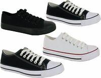 Men Flat Plimsolls Lace Up Pumps Boys Casual Canvas Trainers Shoes Size 7-12