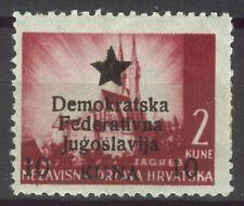 YUGOSLAVIA 1945 - 10 on 2 kuna pelure PROVISORIUM - LOCAL ISSUE 'Mostar' MH