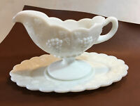 Vintage Westmoreland White Milk Glass Gravy Boat & Drip Plate Paneled Grape EUC