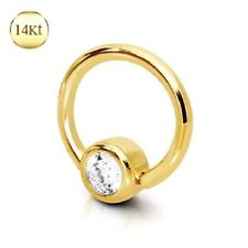 14K Solid GOLD Clear CZ Captive Bead RING Belly Ear Nose Nipple Piercing Jewelry