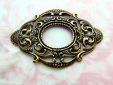 Antique Brass Large Oval Scroll Filigree Ornate Frame Stamping (C-1005)