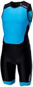 New 2XU Men Perform Rear Zip Trisuit Race Train Triathlon Tri Suit Medium Blue