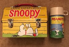 Have Lunch With Snoopy Metal Dome Box & Thermos Bottle 1968 Vintage Peanuts NICE
