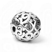 5 Stück Zinklegierung Zwischenperlen Spacer Perlen Rund Antiksilber G/S