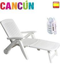Silla plegable tumbona hamaca de resina blanca Cancún 6POS Con apoya brazos