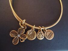 Alex and Ani LUCKY CLOVER Russian Gold Charm Bangle New W/ Tag Card & Box