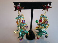 Lunch at the Ritz Rare Woman's Christmas Tree Earrings. (not signed)