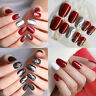 24Pcs Glitter Acrylic Design False Nails Classic Top Charming Red Fake Nail Tips