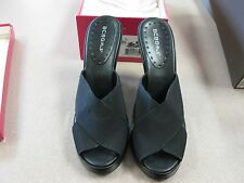 BCB GIRLS Size 9.5M Black High Heel Wedge with Elastic NICE