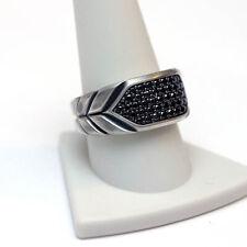 DAVID YURMAN Mens New Chevron Black Diamond Signet Ring  12.25