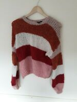 New Look Multicoloured Striped Mohair Jumper Size S