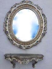 Miroir mural avec Console baroque 58x68 Étagère 45x21 argent antique