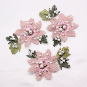 1PC Flower Embroidered Patches Sew on Beaded Applique Clothing Bag Badge Decor