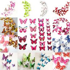 12pcs Papillon 3D PVC Art Design Decal Stickers Muraux Foyer Chambre Déco%^