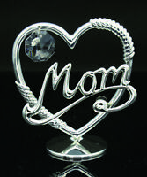 SWAROVSKI CRYSTAL LOVE MOM IN HEART DISPLAY SILVER PLATED MOTHER'S DAY GIFT