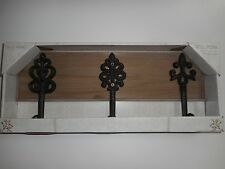 Belle Maison 3 Brown Decorative Cast Iron Hooks on Wood Backing Wall Decor