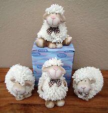 Happy Shaggy Sheep Ornaments Set of 4 Woolly Sheep Flock